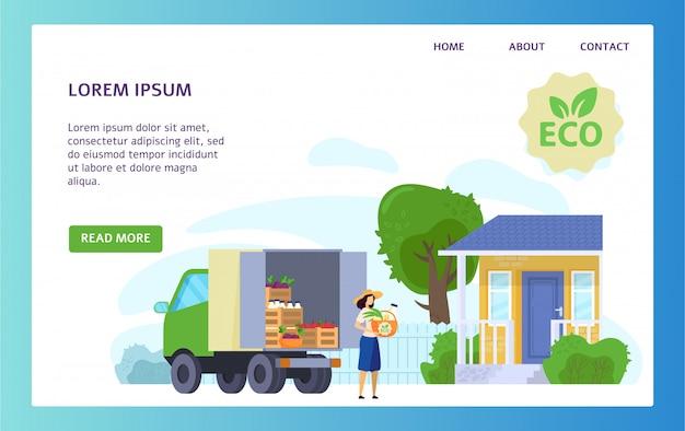 De vrachtwagen van de biologisch voedsellevering, ecoproducten van lokale boerderij, vectorillustratie