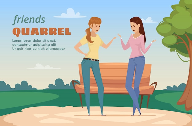 De vrienden betwisten malplaatje met twee boze dames in park in vlakke stijl vectorillustratie