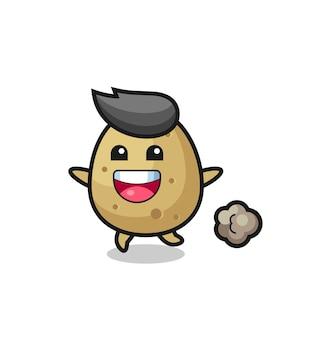 De vrolijke aardappelcartoon met rennende pose, schattig stijlontwerp voor t-shirt, sticker, logo-element