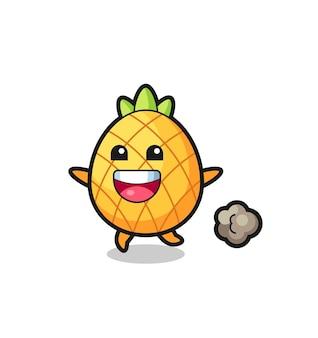 De vrolijke ananas-cartoon met rennende pose, schattig stijlontwerp voor t-shirt, sticker, logo-element