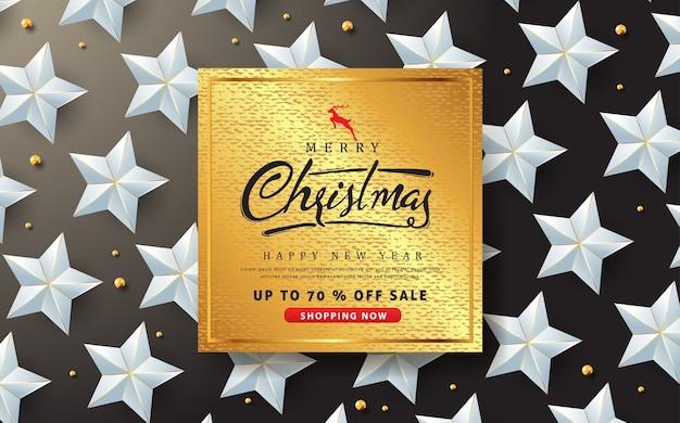 De vrolijke banner van de kerstmisverkoop met zilveren sterachtergrond.