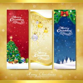De vrolijke banner van kerstmisdecoratie die over gouden achtergrond wordt geplaatst