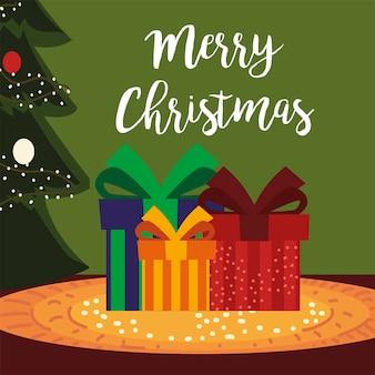 De vrolijke dozen van de kerstmisgift met boom en sneeuw de illustratie van de decoratiekaart
