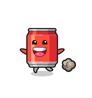 De vrolijke drank kan cartoon met rennende pose, schattig stijlontwerp voor t-shirt, sticker, logo-element