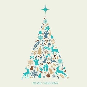 De vrolijke elementen van kerstmispictogrammen in de vorm van een kerstboom