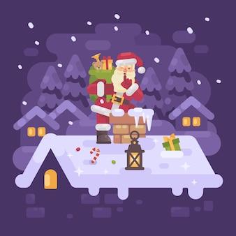 De vrolijke kerstman op een dak die in de schoorsteen beklimmen