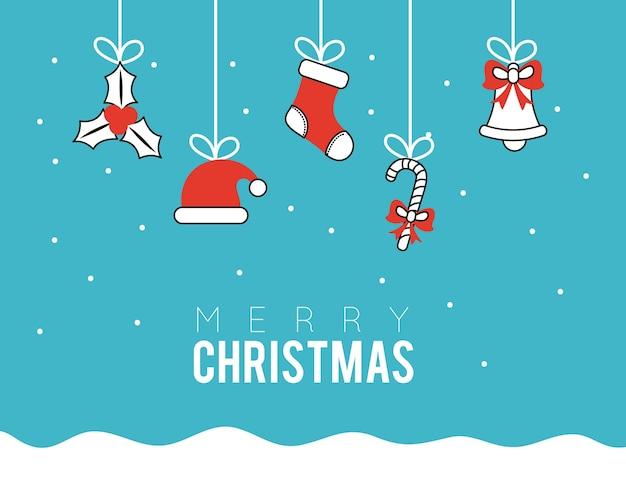 De vrolijke pictogrammen die van de kerstmis vastgestelde lijn in het ontwerp van de snowscapeillustratie hangen