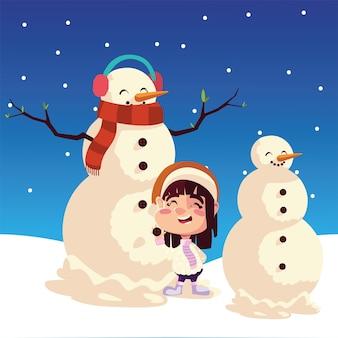 De vrolijke sneeuwman van het kerstmismeisje met oorkappen in de sneeuw die illustratie viert