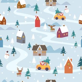 De vrolijke vector van de kerstmisillustratie met de kerstman gaat naar stad op sneeuw voor naadloos patroon