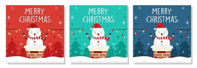 De vrolijke vierkante sneeuwman van de kerstmisbanner in schoorsteen