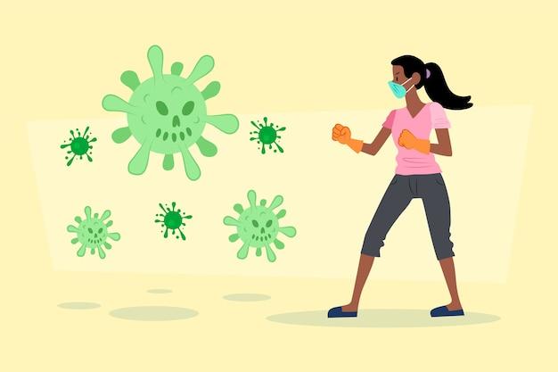 De vrouw bestrijdt het virusconcept