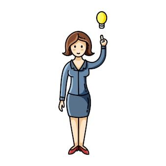 De vrouw die een idee heeft en haar vinger tot de gloeilamp richt stelt.