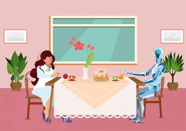 De vrouw drinkt thee met de vlakke illustratie van cyborg