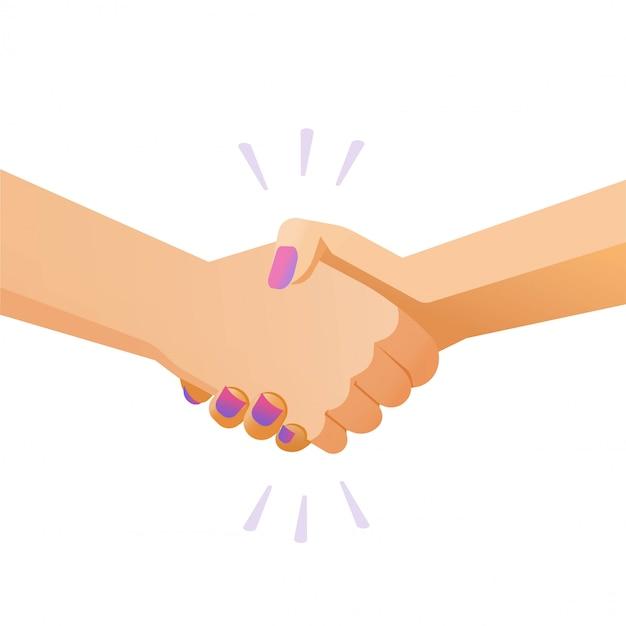 De vrouw en de man van de handschokhanddruk of het schudden geïsoleerde handen vlakke illustratie