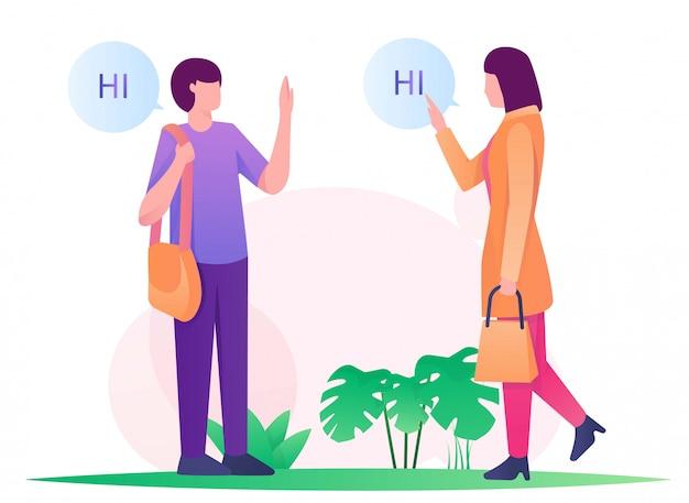De vrouw en de man zeggen hallo vlakke illustratie