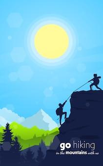 De vrouw helpt de man de berg te beklimmen reizen ontdekken verkennen en observeren van de natuur