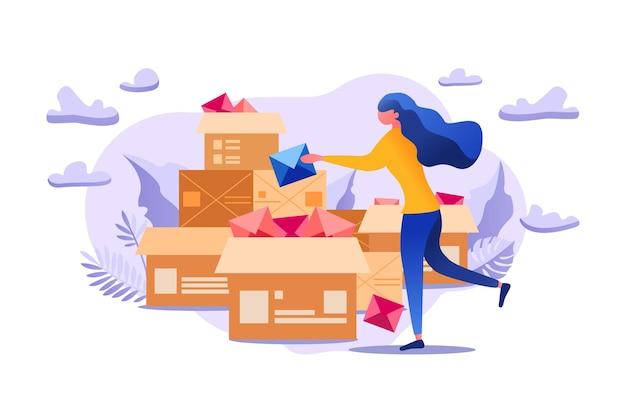 De vrouw houdt een belangrijk bericht vast en probeert te verzenden met de hulp van het postbedrijf.