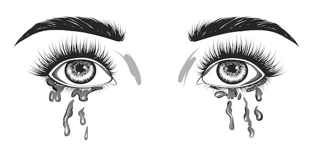 De vrouw huilt.