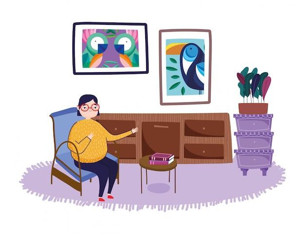 De vrouw in de laden van de stoelruimte plant beelden in muur