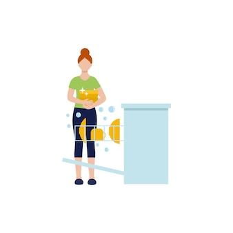 De vrouw is een huisvrouw die de afwas doet in de vaatwasser. vrouwelijk vector plat karakter.