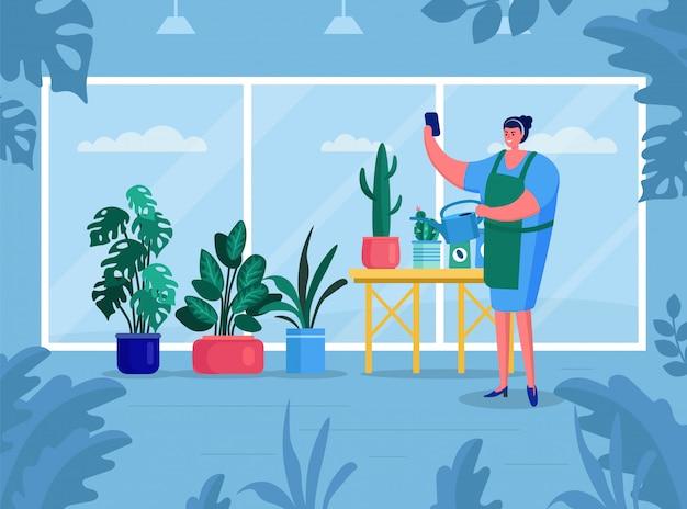 De vrouw maakt gardering, illustratie. groene bloemen sieren interieur kamer. aardinstallaties in bloempot thuis flat