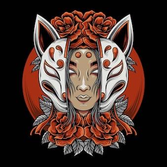 De vrouw met het kitsune-masker