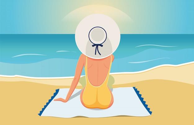 De vrouw op het strand kijkt in de verte in de zon. illustratie
