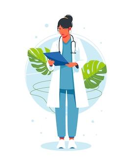 De vrouwelijke arts die met een stethoscoop beoordeelt, analyseert het behandelrapport, de toestand van de patiënt of het laboratoriumtestrapport. checklist gezondheidsinformatie bij diagnose. een medisch werker die aantekeningen maakt