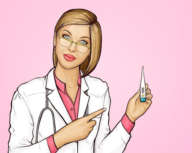 De vrouwelijke arts met thermometer meet lichaamstemperatuur
