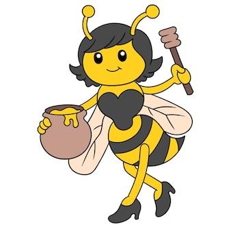 De vrouwelijke bij draagt een vat gevuld met natuurlijke honing, vectorillustratieart. doodle pictogram afbeelding kawaii.