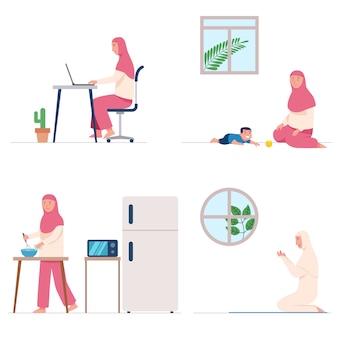 De vrouwelijke moslim bidt en doet thuis dagelijkse activiteit