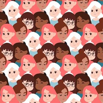 De vrouwen zien met glazenpatroon onder ogen