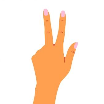De vrouwenhand toont vredesteken met vingers.