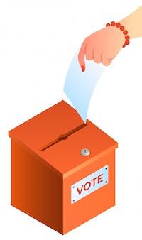 De vrouwenhand zet stemming in het stembusconcept