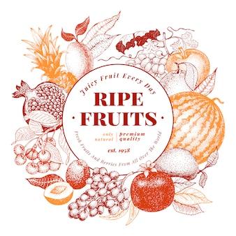 De vruchten en de bessen overhandigen getrokken vectorillustratie als achtergrond.