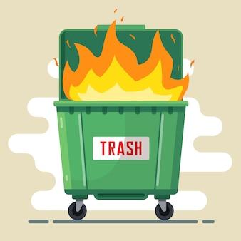De vuilnisbak brandt. overtreding van de regels. schade aan de natuur en mensen. slechte ecologie.