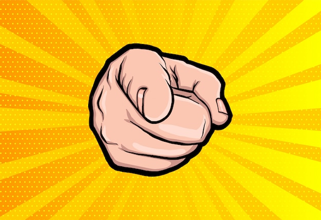 De vuist van een man wijst met een vinger zoals unkle sam.