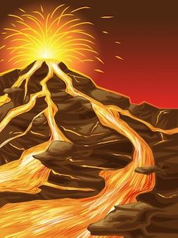 De vulkaan is gebroken.