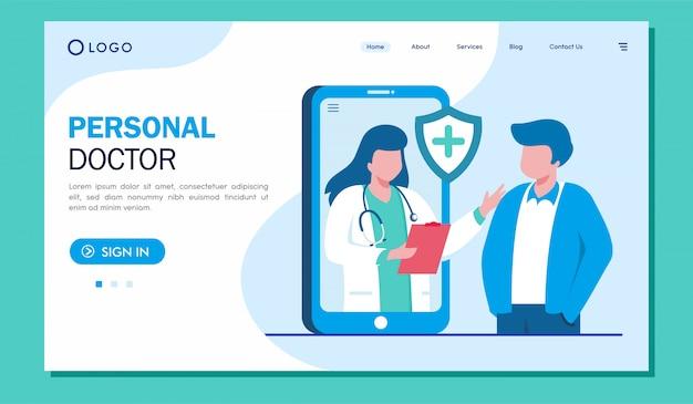 De websiteillustratie van de persoonlijke artsen landende pagina