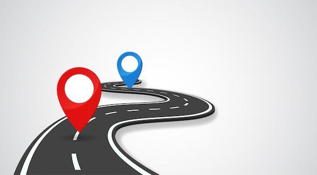 De weg met gps-pin geeft het begin en het einde van de reis aan.