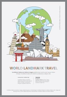 De wereld landmark reizen poster sjabloon
