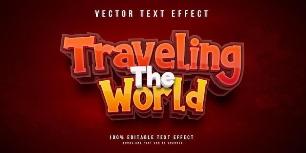 De wereld rondreizend bewerkbaar teksteffect