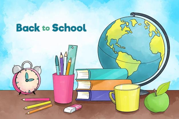 De wereldbol van briefpapier terug naar schoolachtergrond