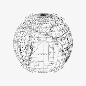 De wereldbol vintage tekening