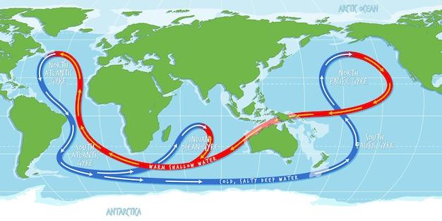 De wereldkaart van de oceaanstroom