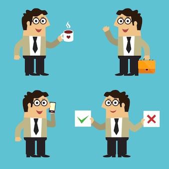 De werknemer van het bedrijfsleven in kostuum met emotionele gebaren van de koffie de mobiele telefoon en stelt geplaatst geïsoleerde vectorillustratie