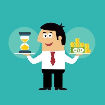De werknemer van het bedrijfsleven met zandloper en muntstukken op tijd is de vectorillustratie van het geldconcept