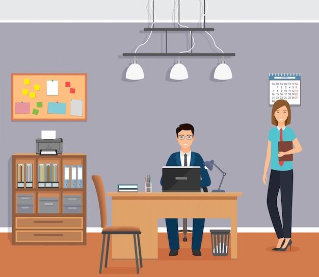 De werknemerzitting van het zakenmanbureau op werkende plaats bij de lijst. zakelijke werknemers karakter in kantoor interieur.