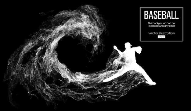 De werper van de honkbalspeler gooit de bal. de achtergrond kan in een andere worden veranderd