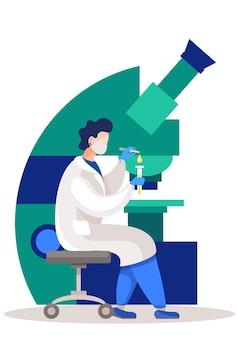De wetenschapper voert een experiment uit op de achtergrond van een enorme microscoop.